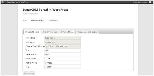 Portal for WordPress interface